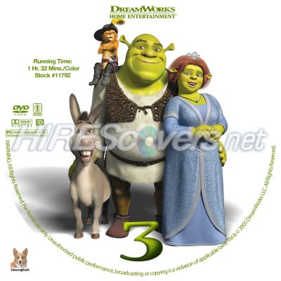 Dvd Cover Custom Dvd Covers Bluray Label Movie Art Dvd Custom Labels S Shrek The Third 2007